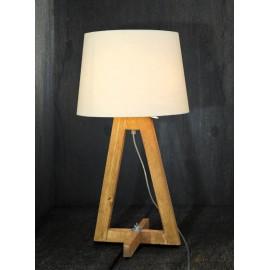 Επιτραπέζιο φωτιστικό IOKASTI ξύλινο με καπέλο λευκό HL-461TL