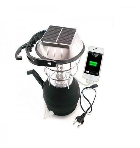 Ηλιακό Φορητό Φανάρι Camping Ρεύματος Μπαταρίας Μανιβέλας LED GloboStar 07001