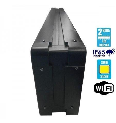 Αδιάβροχη Κυλιόμενη Επιγραφή LED USB & WiFi Λευκή Διπλής Όψης 100x20cm GloboStar 90110
