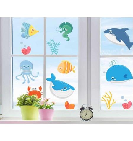 Αυτοκόλλητα διπλής όψης για τζάμι ή τοίχο L Sea Animals 11218 Ango